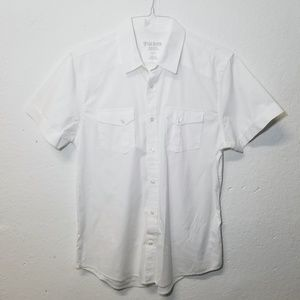 GUESS White Slim Fit Button Shirt Large